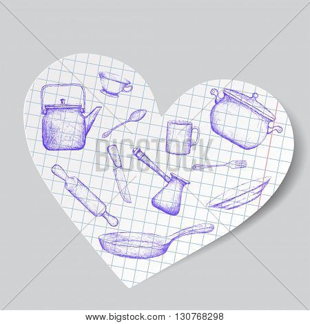 Kitchen utensils is drawn on a paper heart. Doodle image. Stock vector illustration.