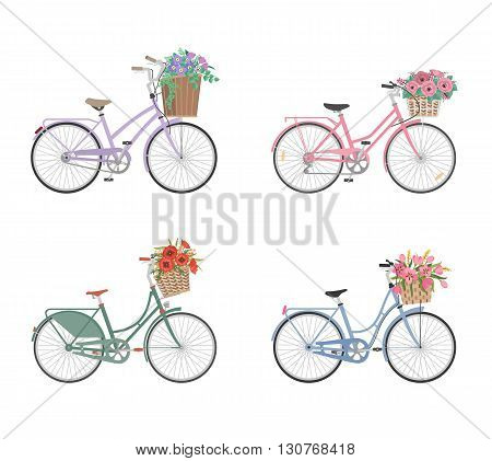 Set of retro bicycles with basket full of flowers in modern flat style. Woman bicycle. Vector illustration