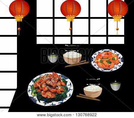 Typical Chinese restaurant with two meals on the table. From the ceiling are hanging three Chinese lanterns (lamps). The meal contents chicken and rice. Beside are two cups of green tea and chop sticks. The table is black and on the left and the right han