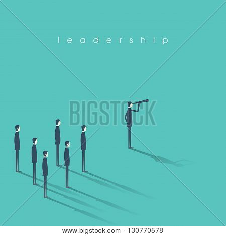 Business leadership concept illustration with businessman and telescope leading other men. Vision and success abstract symbol. Eps10 vector illustration.