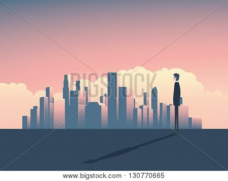 City skyline panorama illustration with businessman watching. City skyline corporate world. Skyline of a city for business background. Cityscape skyline with skyscrapers. City skyline banking symbol.