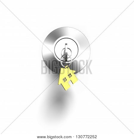 Door Lock And Key With House Shape Keyring