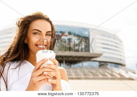 Happy Girl With To Go Cup