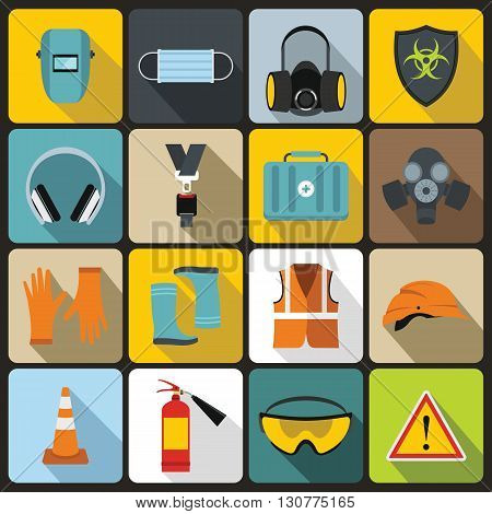 Safety icons set in flat style for any design