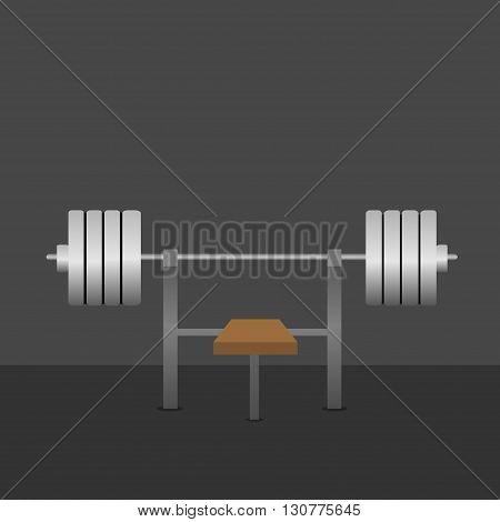 Barbell on bench in the gym. Bar Bench Pres. Silver metal barbell