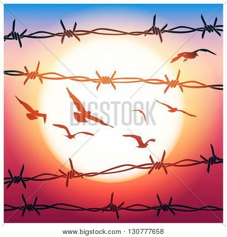 Stylized vector illustration of barbed wire and flying birds in sunlight
