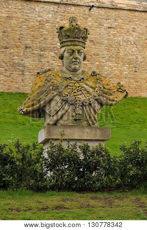 LINCOLN ENGLAND - MAY 3: Bust of King George III standing within the grounds of Lincoln Castle. In Lincoln Lincolnshire England. On 3rd May 2016.