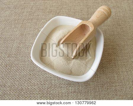 Agar agar in powdered form in small bowl