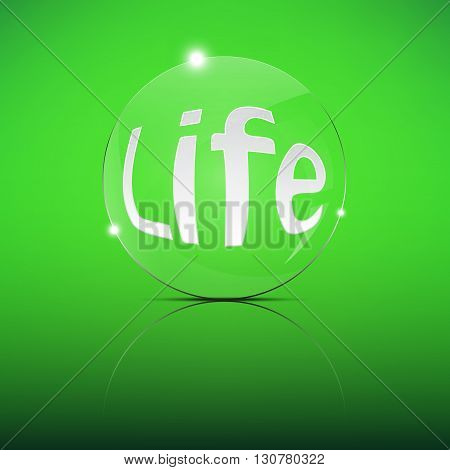 Life word Focus Convex Len Vector Illustration