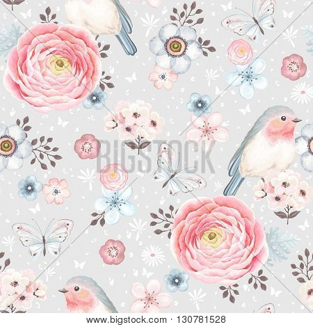 Seamless pattern with birds Robin, butterflies, pink ranunculus and small flowers in vintage watercolor style, vector illustration on gray background.