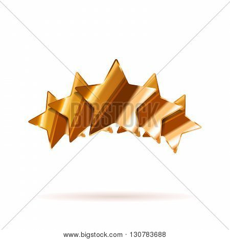 Five glossy bronze rating stars with shadow isolated on white