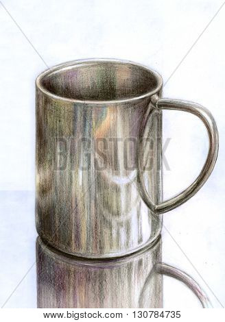 Stainless steel mug - hand draw color pencils illustration