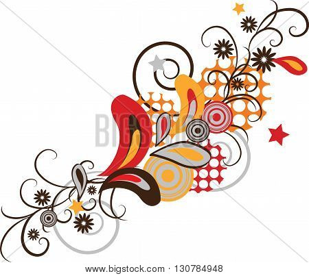 Ornamental abstract floral elements pop art style design