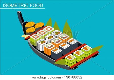 Isometric sushi set. Japanese seafood vector. Asian restaurant food. Flat illustration. A selection of sushi in a wooden boat platter. A selection of seaweed maki rolls. Isometric food poster