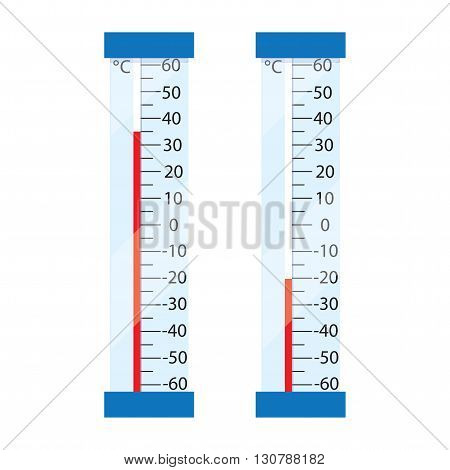 Two street mercury thermometer. Thermometers show the high and low temperature. Measuring the Celsius temperature. The heat and frost. Vector illustration.