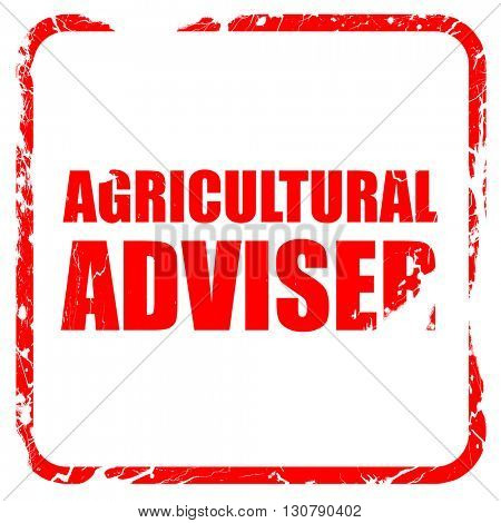 agricultural adviser, red rubber stamp with grunge edges