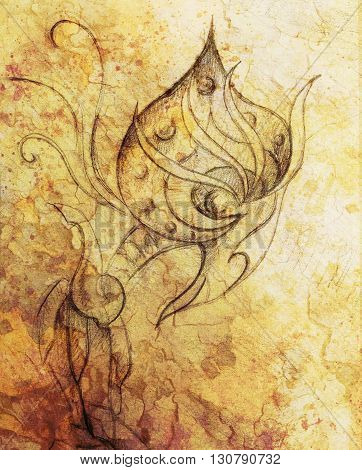 allien figure  ornamental drawing on paper. Desert crackle Computer collage