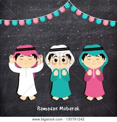 Illustration of Muslim Boys offering Namaz (Islamic Prayer) on chalkboard background for Holy Month of Muslim Community Festival, Ramadan Mubarak.