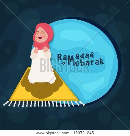Illustration of a Muslim Girl offering Namaz (Islamic Prayer) for Holy Month of Muslim Community, Ramadan Kareem Celebration.