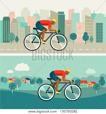 cyclist riding on bicycle on city and countryside, vector poster