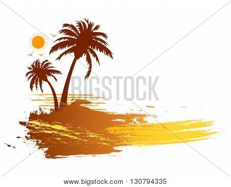 Grunge summer tropical palm trees banner design