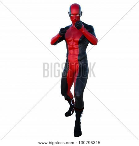 one young man with muscles in a super suit. Ready for a fistfight. Character to prepare for boxing. 3D rendering, 3D illustration