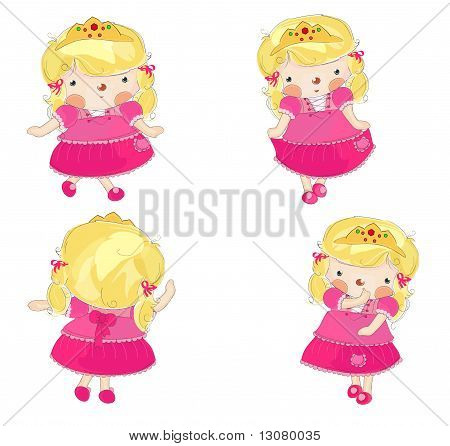 cute little princess in 4 variations