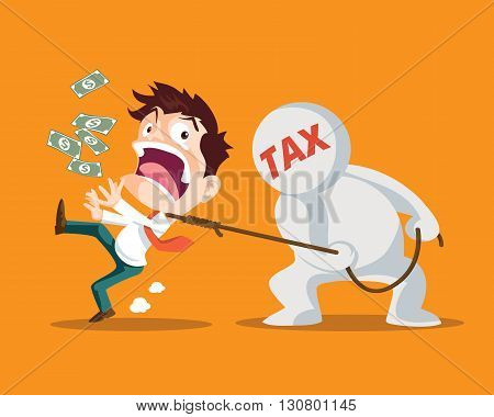 Businessman running away from taxMan strangled by taxes is inevitableTax man pulling businessman
