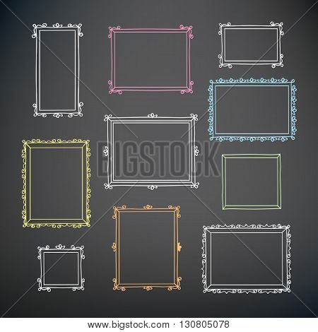 Set of hand drawn decorative frames. Vintage frames. Hand drawn on the chalkboard. Colored and white chalk. Doodles, sketch for your design. Vector illustration.