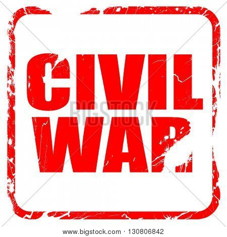 civil war, red rubber stamp with grunge edges
