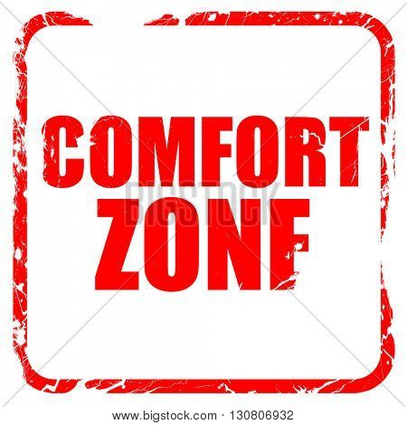 comfort zone, red rubber stamp with grunge edges