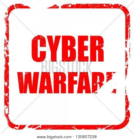 Cyber warfare background, red rubber stamp with grunge edges