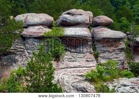 Rock formations at the Garden of the Gods Wilderness Shawnee National Forest Illinois USA