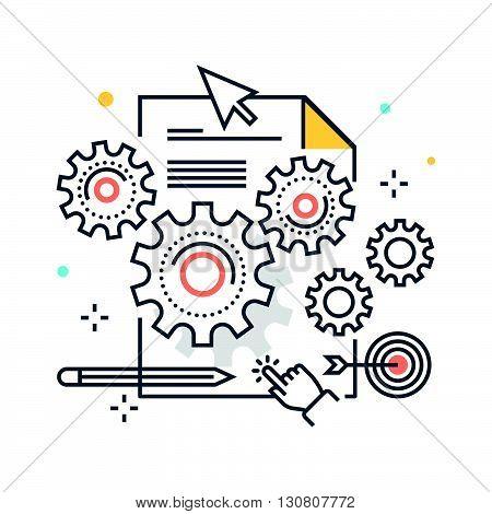 Color Line, Content Management Concept Illustration, Icon