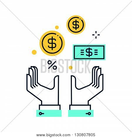 Color Line, Wealth, Salary Concept Illustration, Icon