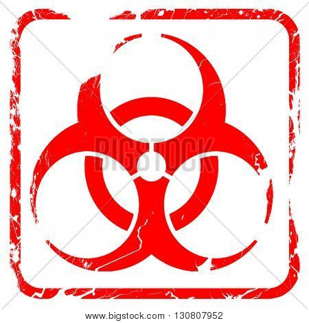 Bio hazard sign on a grunge background, red rubber stamp with gr