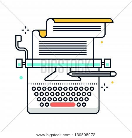 Copy Writing Color Line, Concept Illustration, Icon