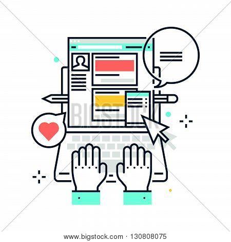 Color Line, Profile Page Concept Illustration, Icon