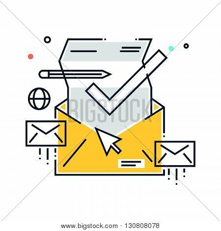 Color Line, Inbox, Receive Mail Concept Illustration, Icon