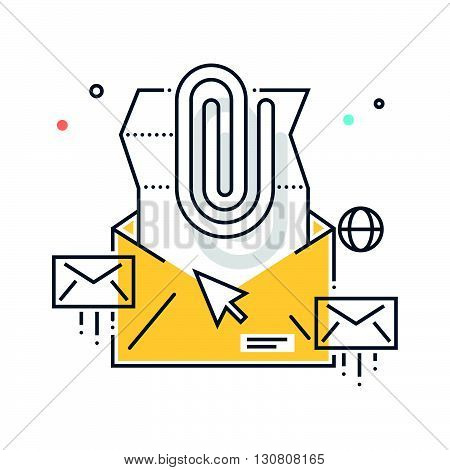 Color Line, Email Attachement Concept Illustration, Icon