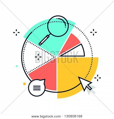Color line statistics piechart concept illustration icon background and graphics. The illustration is colorful flat vector pixel perfect suitable for web and print. It is linear stokes and fills. poster