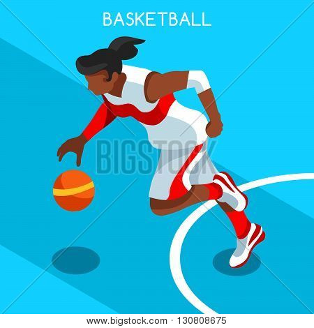 Basketball Player Athlete Summer Games Icon Set.3D Isometric Black Basketball Player Athlete.United States USA Sporting Competition.Sport Basket Infographic Basketball Vector Illustration.