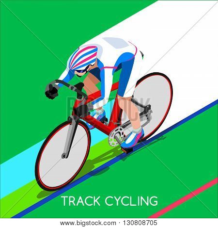 Track Cyclist Bicyclist Athlete Summer Games Icon Set.Track Cycling Speed Concept.3D Isometric Athlete.Sporting Bicycle Competition.Sport Infographic Cycling Track Race Vector Illustration.