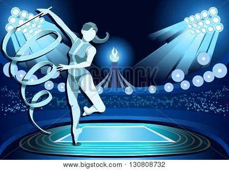,olympic, paralympic,Rio,2016, 2016 Stadium Background Summer Games 2016 Rhythmic Gymnastics Female Athlete with Ribbon Equipment Gymnast on Field Background Nocturnal View Vector Illustration