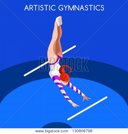 Artistic Gymnastics Uneven Bars Summer Games Icon Set.3D Isometric Gymnast.Sporting Championship International Competition.Sport Infographic Artistic Gymnastics Vector Illustration