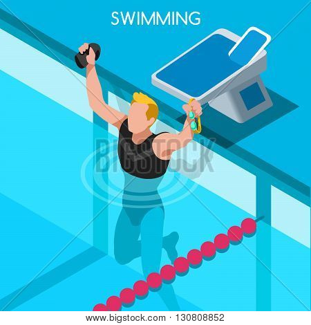 Swimming Freestyle Summer Games Icon Set.3D Isometric Swimmer.Breaststroke Backstroke Butterfly Relay Sporting Competition Race.Sport Infographic Swimming Vector Illustration
