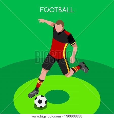 Soccer Player Athlete Summer Games Icon Set.3D Isometric Football Player Athlete.Sporting International Competition Championship.Sport Soccer Infographic Football Vector Illustration.
