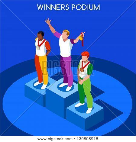 2016 Winner Podium Summer Games Icon Set.Speed Concept.3D Isometric Athlete.Sporting Competition.Sport Infographic Winner Podium Vector Illustration.