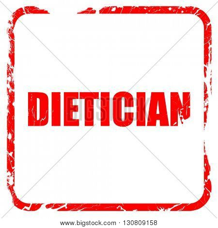 dietician, red rubber stamp with grunge edges