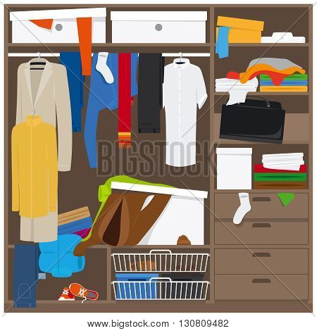 Open wardrobe with mess clothes. Household mess vector illustration
